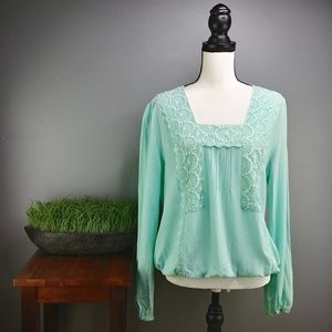 Skies Are Blue | Mint Crepe and Lace Blouse